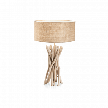 Настольная лампа Ideal Lux DRIFTWOOD TL1 129570, 1xE27x60W, коричневый, бежевый, дерево, текстиль