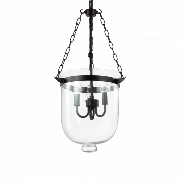 Подвесная люстра Ideal Lux ENTRY SP3 BIG 134215, 3xE14x40W, черный, прозрачный, металл, стекло