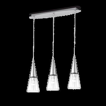 Подвесной светильник Ideal Lux CONO SP3 CROMO 112367, 3xE14x40W, хром, прозрачный, металл, стекло