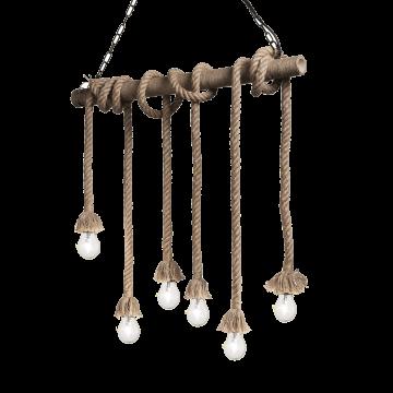 Подвесной светильник Ideal Lux CANAPA SP6 134826, 6xE27x15W, коричневый, канат
