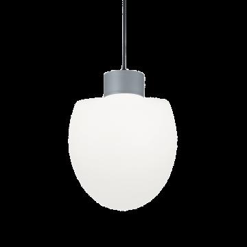 Подвесной светильник Ideal Lux CONCERTO SP1 GRIGIO 149998, IP44, 1xE27x60W, серый, белый, металл, пластик