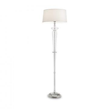 Торшер Ideal Lux FORCOLA PT1 142616, 1xE27x60W, прозрачный, белый, стекло, текстиль