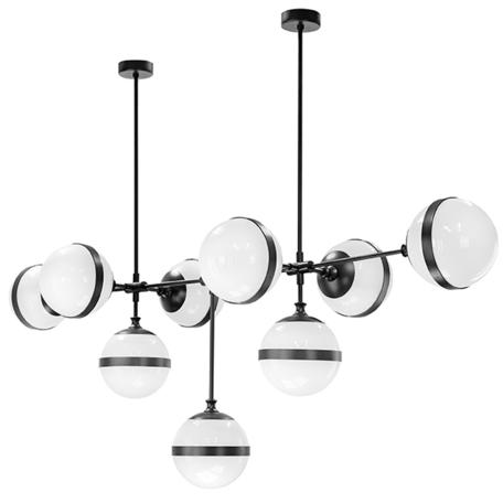 Потолочная люстра Lightstar Globo 813197, 9xE14x40W, черный, черно-белый, металл, стекло
