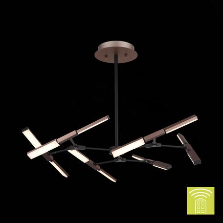 Светодиодная люстра с регулировкой направления света на составной штанге с пультом ДУ ST Luce Valiano SL414.302.06, LED 72W 4000K 7920lm, коричневый, металл, металл с пластиком