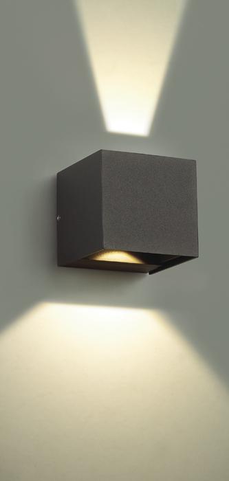 Настенный светодиодный светильник Novotech Kaimas 357402, IP54, LED 6W 3000K 163lm, серый, металл, стекло - фото 4