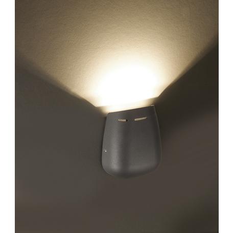 Настенный светодиодный светильник Novotech Kaimas 357411, IP54, LED 3W 3000K 120lm, серый, металл, стекло