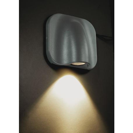 Настенный светодиодный светильник Novotech Kaimas 357414, IP54, LED 3W 3000K 164lm, серый, металл, стекло