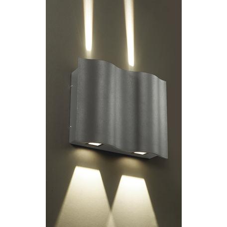 Настенный светодиодный светильник Novotech Kaimas 357416, IP54, LED 12W 3000K 103lm, серый, металл, стекло