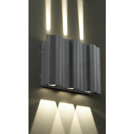 Настенный светодиодный светильник Novotech Kaimas 357417, IP54, LED 18W 3000K 193lm, серый, металл, стекло