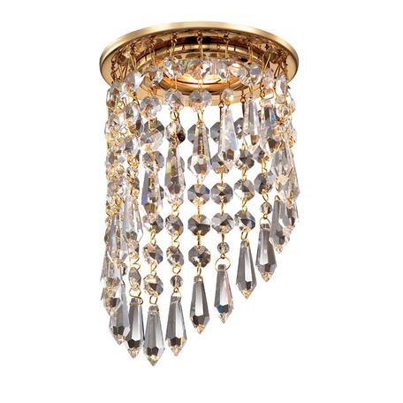 Встраиваемый светильник Novotech Spot Rain 369400, 1xGU5.3x50W, золото, прозрачный, металл, хрусталь