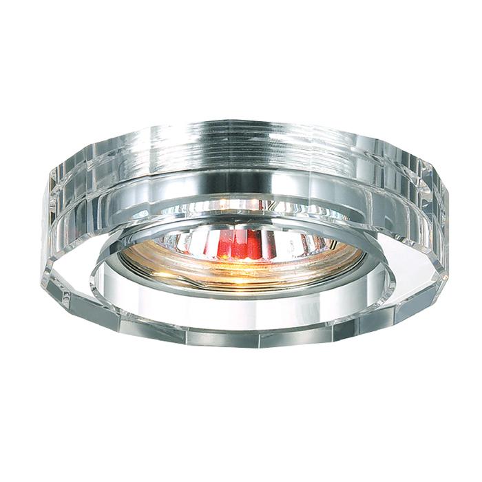 Встраиваемый светильник Novotech Spot Glass 369487, 1xGU5.3x50W, хром, прозрачный, хрусталь - фото 1