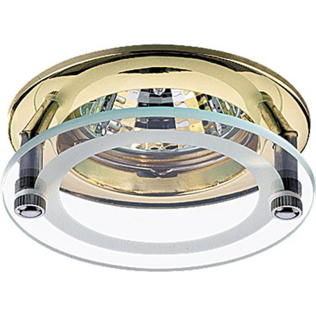 Встраиваемый светильник Novotech Round 369108, 1xGU5.3x50W, латунь, прозрачный, металл, стекло