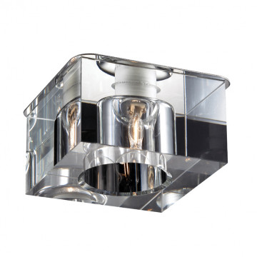 Встраиваемый светильник Novotech Cubic 369298, 1xG9x40W, хром, прозрачный, металл, хрусталь