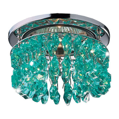 Встраиваемый светильник Novotech Flame2 369317, 1xGU5.3x50W, хром, зеленый, металл, хрусталь Asfour
