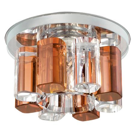 Встраиваемый светильник Novotech Caramel 1 369348, 1xG9x40W, хром, янтарь, металл, стекло