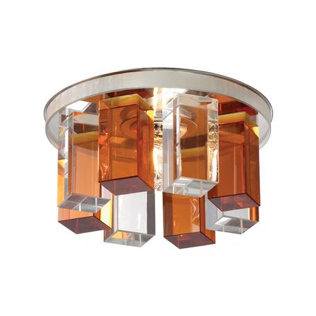 Встраиваемый светильник Novotech Caramel 3 369353, 1xG9x40W, хром, прозрачный, янтарь, металл, стекло