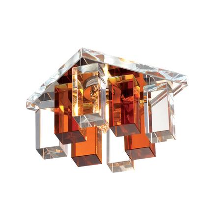 Встраиваемый светильник Novotech Caramel 2 369368, 1xG9x40W, хром, прозрачный, янтарь, металл, стекло