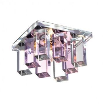 Встраиваемый светильник Novotech Caramel 2 369369, 1xG9x40W, хром, розовый, прозрачный, металл, стекло