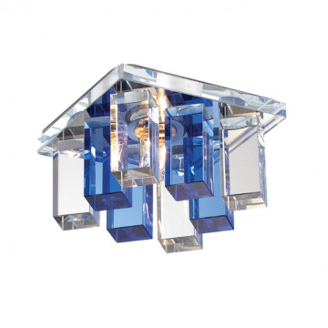 Встраиваемый светильник Novotech Caramel 2 369370, 1xG9x40W, хром, прозрачный, синий, металл, стекло