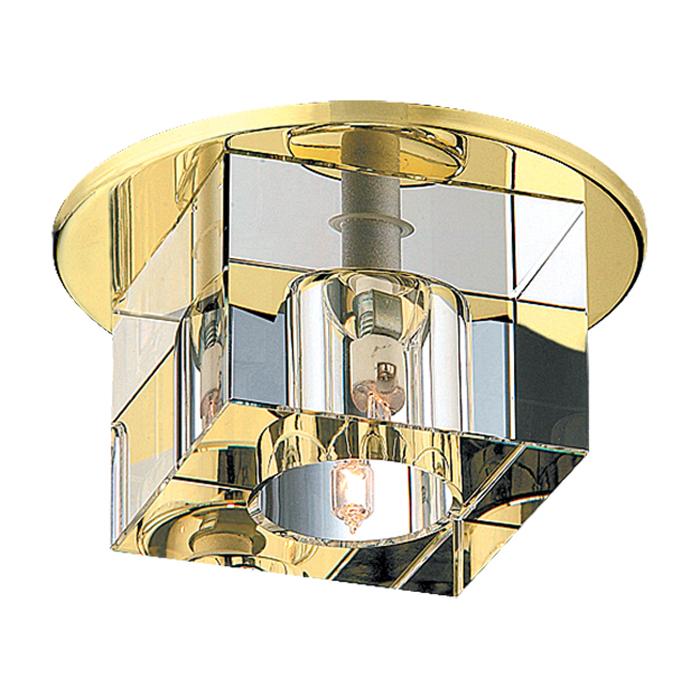 Встраиваемый светильник Novotech Cubic 369382, 1xGX6.35x50W, золото, прозрачный, металл, хрусталь - фото 1