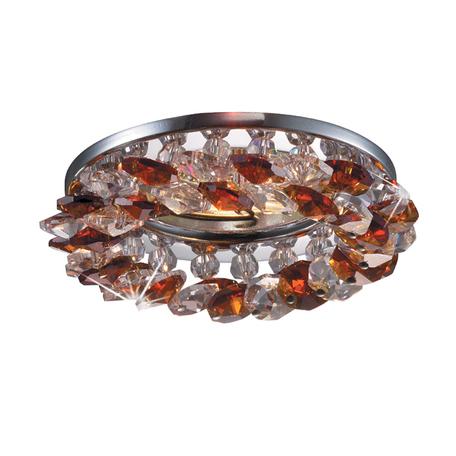 Встраиваемый светильник Novotech Corona 369407, 1xGU5.3x50W, прозрачный, хром, янтарь, металл, хрусталь - миниатюра 1