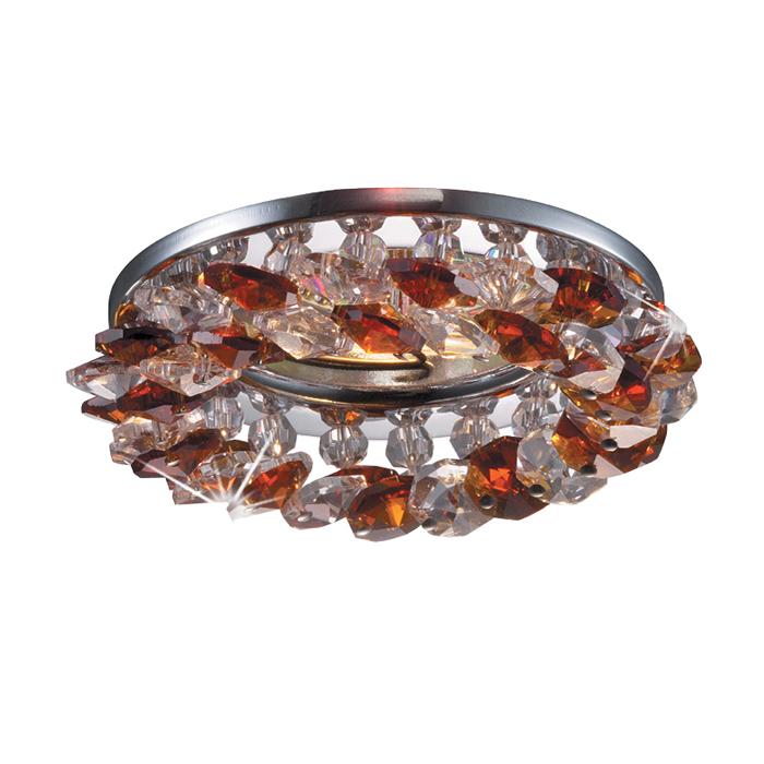 Встраиваемый светильник Novotech Corona 369407, 1xGU5.3x50W, прозрачный, хром, янтарь, металл, хрусталь - фото 1