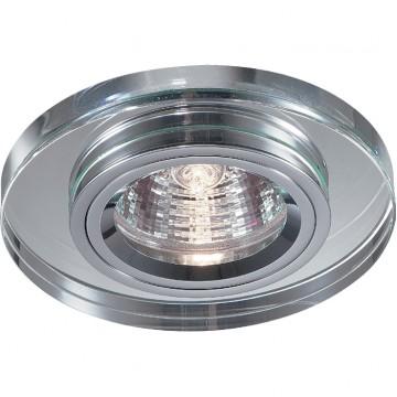 Встраиваемый светильник Novotech Mirror 369436, 1xGU5.3x50W, прозрачный, хром, металл со стеклом/хрусталем