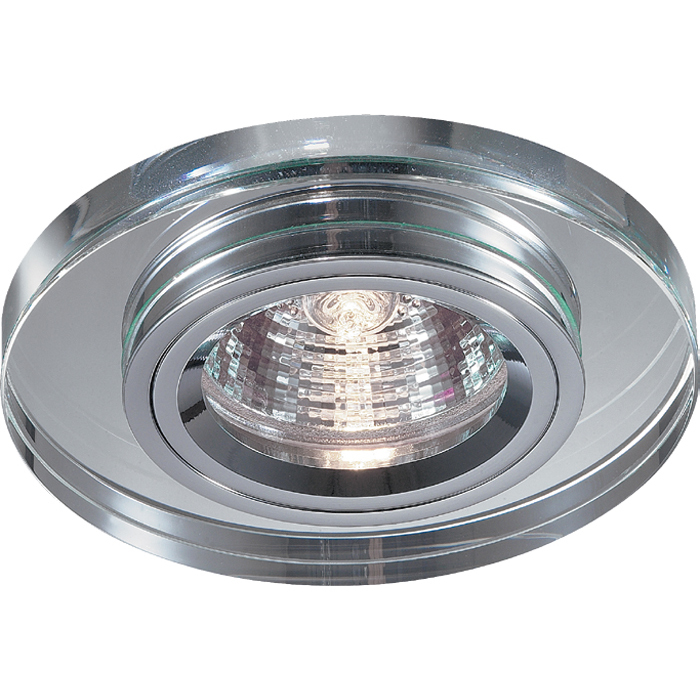 Встраиваемый светильник Novotech Mirror 369436, 1xGU5.3x50W, хром, металл, хрусталь - фото 1