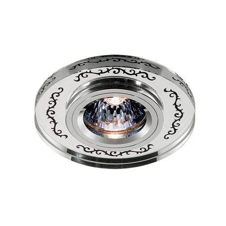 Встраиваемый светильник Novotech Mirror 369542, 1xGU5.3x50W, прозрачный, хром, черный, металл, хрусталь