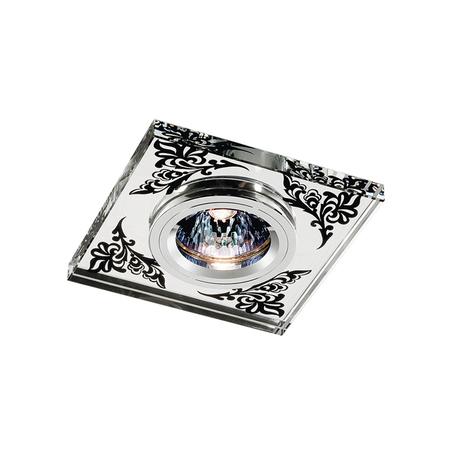Встраиваемый светильник Novotech Mirror 369544, 1xGU5.3x50W, прозрачный, хром, черный, металл, хрусталь