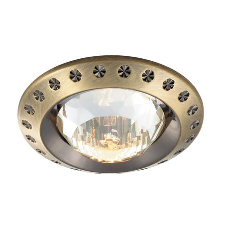 Встраиваемый светильник Novotech Spot Glam 369645, 1xGU5.3x50W, бронза, прозрачный, металл с хрусталем, хрусталь