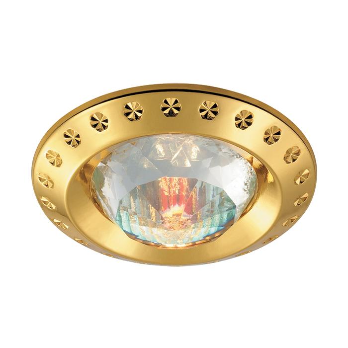 Встраиваемый светильник Novotech Spot Glam 369648, 1xGU5.3x50W, золото, прозрачный, металл с хрусталем, хрусталь - фото 1