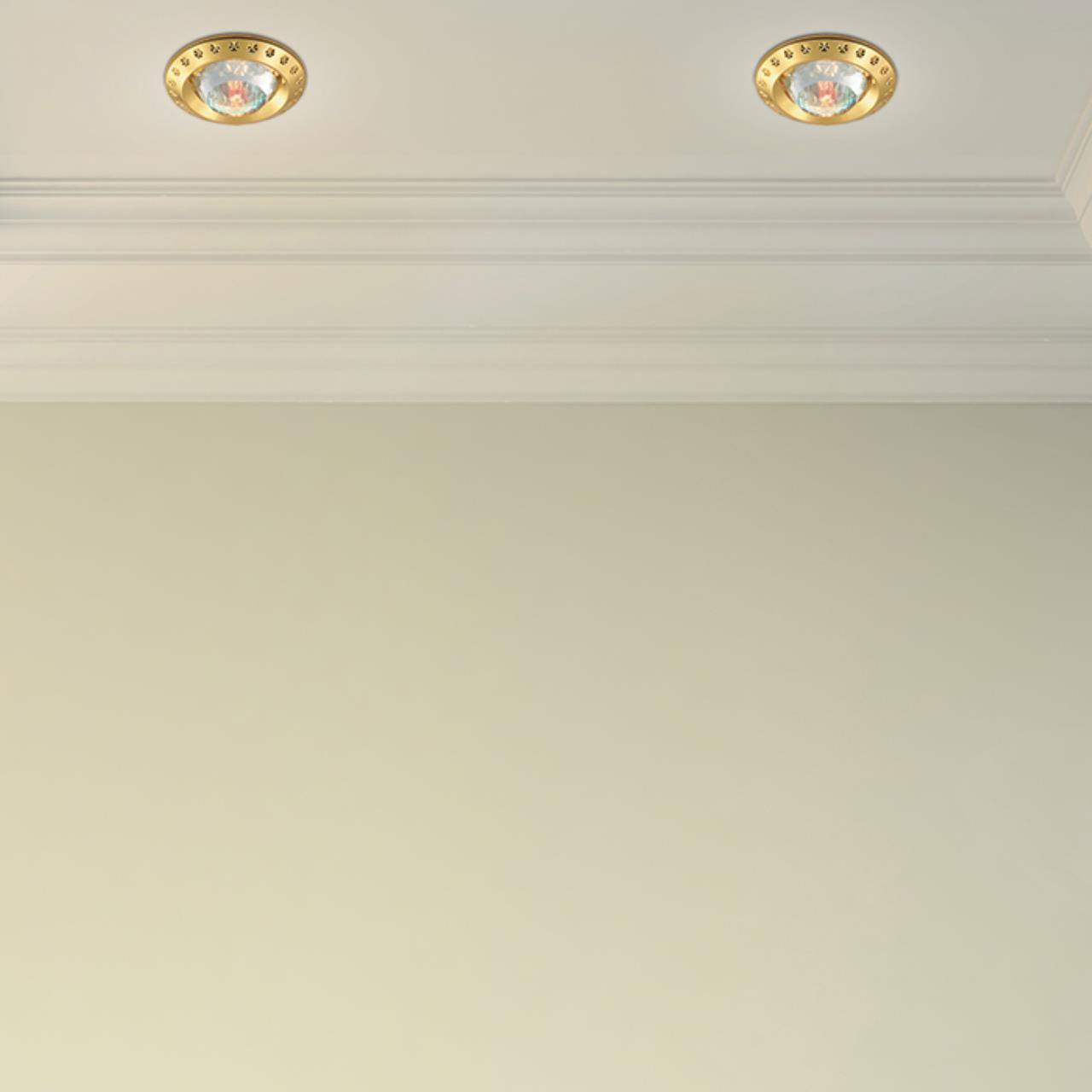 Встраиваемый светильник Novotech Spot Glam 369648, 1xGU5.3x50W, золото, прозрачный, металл с хрусталем, хрусталь - фото 2