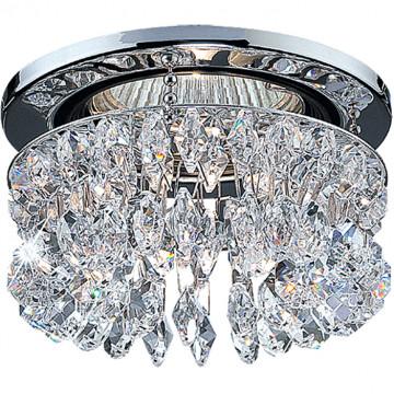 Встраиваемый светильник Novotech Flame2 369271, 1xGU5.3x50W, хром, прозрачный, металл, хрусталь Asfour