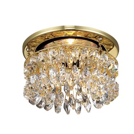 Встраиваемый светильник Novotech Flame2 369335, 1xGU5.3x50W, золото, прозрачный, металл, хрусталь Asfour