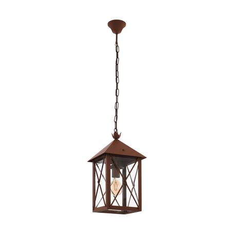 Подвесной светильник Eglo Gaudesi 64753, 1xE27x60W, коричневый, прозрачный, металл, металл со стеклом