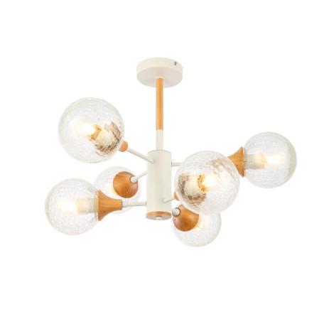 Потолочная люстра Evoluce Lione SLE109502-06, 6xE27x60W, белый, коричневый, прозрачный, металл, дерево, стекло