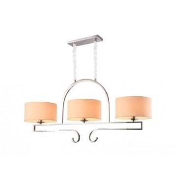 Подвесной светильник Newport 31303/S (М0057696), 3xE27x60W, хром, бежевый, прозрачный, металл, текстиль, стекло