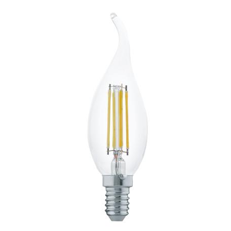 Филаментная светодиодная лампа Eglo 11497 свеча на ветру E14 4W, 2700K (теплый) CRI>80, гарантия 5 лет