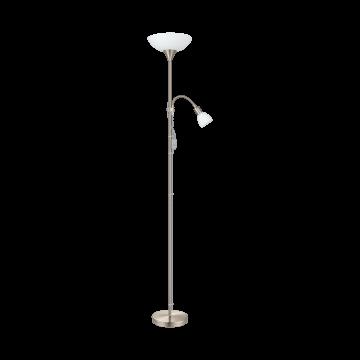 Торшер Eglo Up 2 82842, 1xE27x60W +  1xE14x25W, никель, белый, металл, пластик