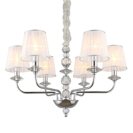 Светильник Omnilux Camino OML-84903-06, 6xE14x40W, хром с прозрачным, белый с серебром, металл с хрусталем, текстиль
