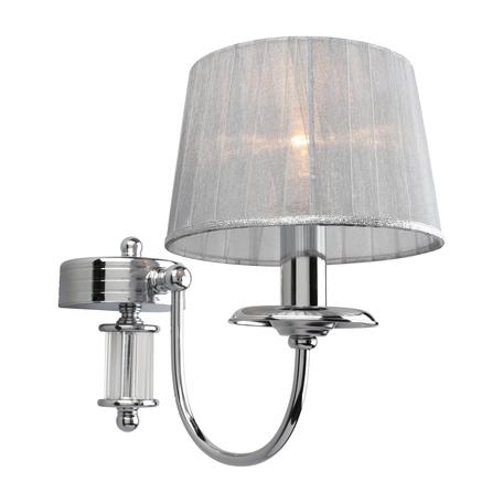 Светильник Omnilux Laterina OML-85901-01, 1xE14x40W, хром с прозрачным, серый с серебром, металл с хрусталем, текстиль