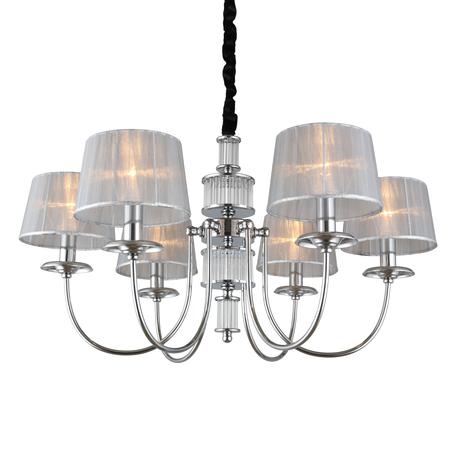 Светильник Omnilux Laterina OML-85903-06, 6xE14x40W, хром с прозрачным, серый с серебром, металл с хрусталем, текстиль