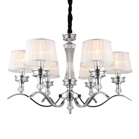 Светильник Omnilux Arosio OML-88403-06, 6xE14x40W, хром с прозрачным, белый с серебром, металл с хрусталем, текстиль