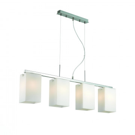 Подвесной светильник ST Luce Caset SL541.103.04, 4xE27x40W, никель, белый, металл, стекло