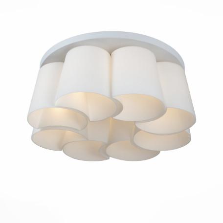 Потолочная люстра ST Luce Chiello SL543.502.08, 8xE27x60W, серебро, белый, металл, стекло