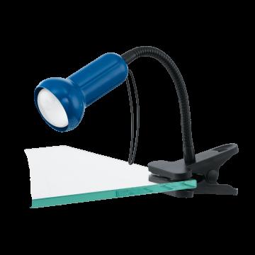 Светильник на прищепке Eglo Fabio 81261, 1xE14x40W, черный, синий, металл, пластик