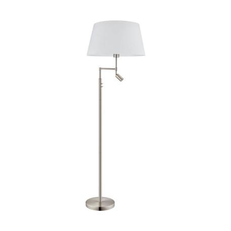 Торшер Eglo Santander 94946, 1xE27x60W + LED 2,1W 3000K 250lm CRI>80, никель, белый, металл, текстиль