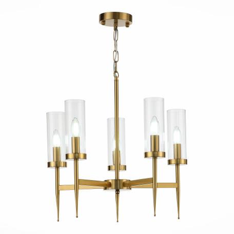 Подвесная люстра ST Luce Acazio SL1159.303.05, 5xE14x60W, матовое золото, прозрачный, металл, стекло