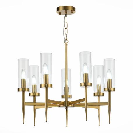 Подвесная люстра ST Luce Acazio SL1159.303.07, 7xE14x60W, матовое золото, прозрачный, металл, стекло